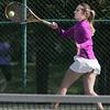 KEN YUSZKUS/Staff photo.   Swampscott's singles player Vivien Gere makes contact with ball during the Swampscott at Danvers girls tennis match.    5/8/15