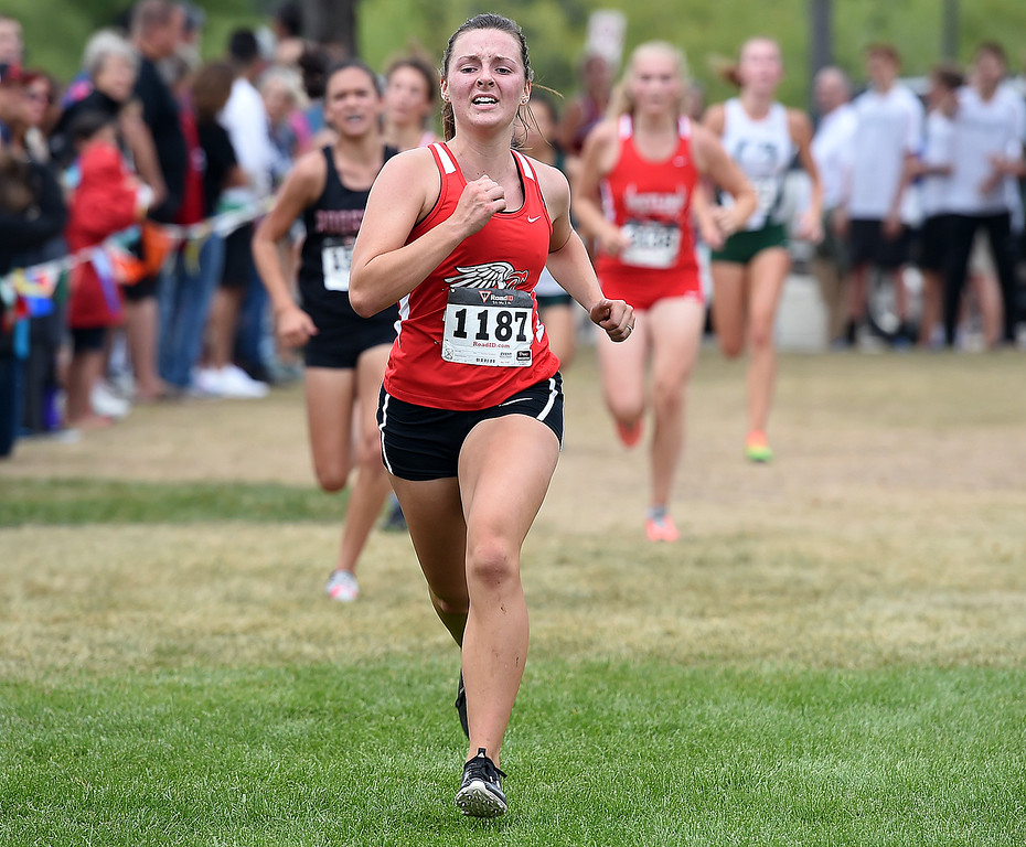. Loveland\'s Maci Ames runs Friday, Sept. 22, 2017, during the Sweetheart cross country meet at North Lake Park in Loveland.   (Photo by Jenny Sparks/Loveland Reporter-Herald)