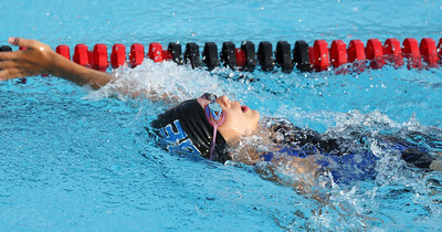25 yards backstroke. Anna at the Edge vs Essex swim meet in Essex outdoor pool, July 2010.