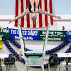 Record-Eagle/Jan-Michael Stump<br />  Traverse City's Christine Cypher performs a dive during Thursday's meet against Gaylord.