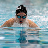 Record-Eagle/Jan-Michael Stump<br /> Traverse City's Alaina Chena swims the breast strke leg of the 200 I.M. during Thursday's meet against Gaylord.