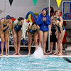 Record-Eagle/Jan-Michael Stump<br /> Traverse City swimmers cheer for their 200 medley relay team during Thursday's meet against Gaylord.