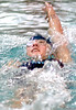 Sullivan South's Mollie Swayne swimming the backstroke part of the girls 200 meter IM. She won the event. Photo by Ned Jilton II