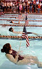 Swimmers become color guard for the National Anthem before the start of the NET swim meet in Bristol. Photo by Ned Jilton II