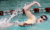 Jordan Skeen of Dobyns Bennett wins the Women's 200 meter freestyle. Photo by Ned Jilton II