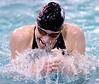 Stuart Owens of Dobyns Bennett swimming the brest stroke part of the 200 meter IM. Photo by Ned Jilton II