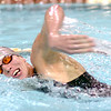 D-B's Stuart Owens heads for the finish as he swims the freestyle leg of the 200 meter IM. Photo by Ned Jilton II
