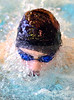 Science Hill's Tyler Mills head emerges from the water during the men's 100 yard butterfly. Photo by Ned Jilton II