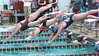 Swimmers come out of the blocks for the Girls Open 50 meter free. Photo by Ned Jilton II