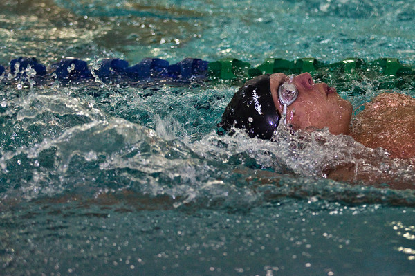Watkins Memorial High School's Tyler Hatton competes in the Boys 200 Yard IM heat in the 2009 Jaguar Invitational Swim Meet held at the Columbus Aquatic Center Saturday night December 12, 2009. (Photo by James D. DeCamp 614-462-8027)