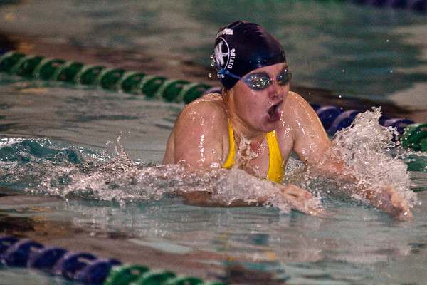 Wellington High School's Annie Miller competes in the Girls 200 Yard IM heat in the 2009 Jaguar Invitational Swim Meet held at the Columbus Aquatic Center Saturday night December 12, 2009. (Photo by James D. DeCamp 614-462-8027)
