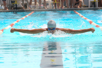 Alliance's Broc Anderson swims the butterfly stroke in the boys 15 - 18 year old of the 100 yard Individual medley on Saturday, in Bridgeport. The summer competition from five competing city's in the BRATS League (Bridgeport, Rushville, Alliance, Torrington and Sidney). Anderson finished first with a time of 1:12.63 to also smash the meet record of Torrington's Noah Strong's 1:17.92.