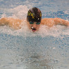 SAM HOUSEHOLDER | THE GOSHEN NEWS<br /> Northridge junior Chayton Friesen swims the butterfly portion of the 200 yard individual medley Thursday during the Boys Swimming Sectional Preliminaries at Northridge High School.