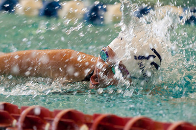 Katie plows through the water on the last lap of her 200 free.