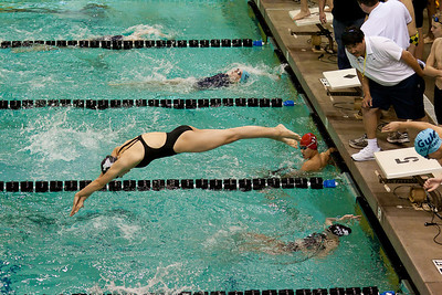 """The """"for fun"""" relay with mixed boys and girls, 8 swimmers per lane at the Texas All Star meet in Midland, Texas"""