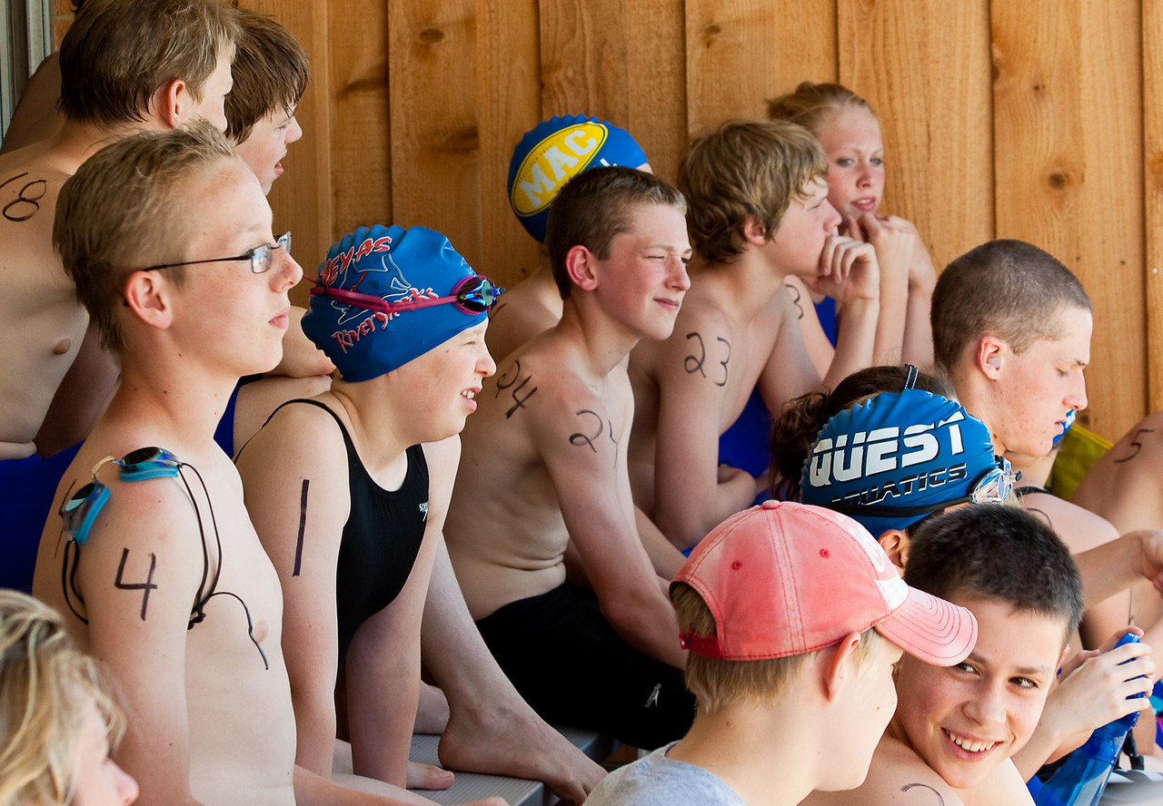 The kids are instructed on how an open water race is conducted.