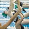 SAM HOUSEHOLDER | THE GOSHEN NEWS<br /> Concord swimmer Maddisen Lantz dives into the pool during the 100 yard backstroke during the meet against Mishawaka Thursday.