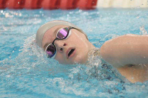 WARREN  DILLAWAY   Star Beacon <br /> Geneva's Angelina Brown swims the 200 Yard IM on Friday at the district swim meet at Spire institute in Harpersfield Township.