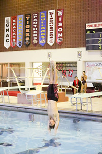 Gering's Avery Bailey during the diving competition on Friday during the Twin City Invite. Bailey won first with a score of 370.25 breaking the school record.
