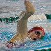 SAM HOUSEHOLDER | THE GOSHEN NEWS<br /> Goshen freshman Megan Ronci swims the 200 yard freestyle during the Northern Lakes Conference preliminairies Thursday at Concord High School.