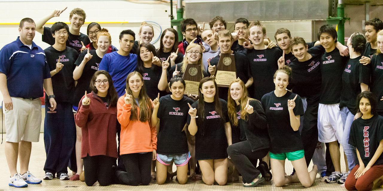 Pearce Boys and Girls both take first place at the District 10 5A Swim Meet, led by coach Dan Hafner.
