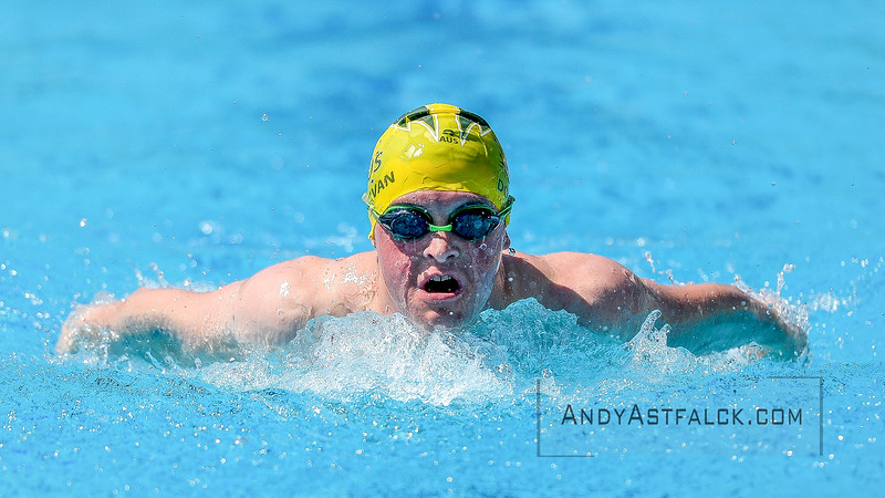 Stephen Donavan of Australia during the 100m Butterfly Heats on Day 3 at the 8th Down Syndrome World Swimming Championships held in Florence Italy on July 20 2016.