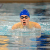 Leominster's Ethan Moran swims in Friday's meet against Nashoba.<br /> SENTINEL & ENTERPRISE / BRETT CRAWFORD