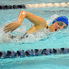 Leominster's Alexis Regopoulos swims in Friday's meet against Nashoba.<br /> SENTINEL & ENTERPRISE / BRETT CRAWFORD