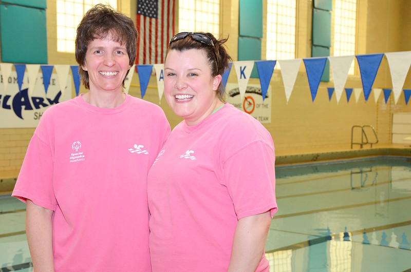 Karin Thibaudeau and Allie Ringuette, coaches of the Special Olympics swim team, the Dolphins. SENTINEL & ENTERPRISE / Ashley Green