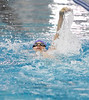 Alec Cohen swims the backstroke during Sunday's Men's 13-14 200 LC Meter IM during the Stu Hixon Invite at the Mountain View Aquatic Center.