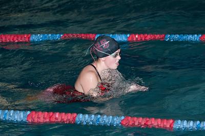 Carlie practicing the breast stroke in practice 2008