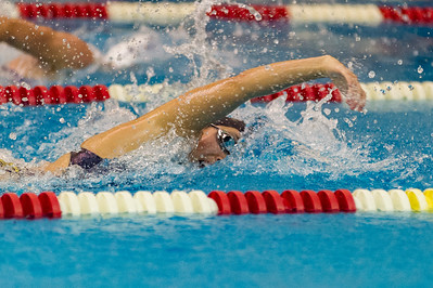 Panthers Megan Chan swims to a first place finish in the Girls 100 Yard Freestyle during a meet at Pioneer on Thursday night. Fran Ruchalski | Pharos-Tribune