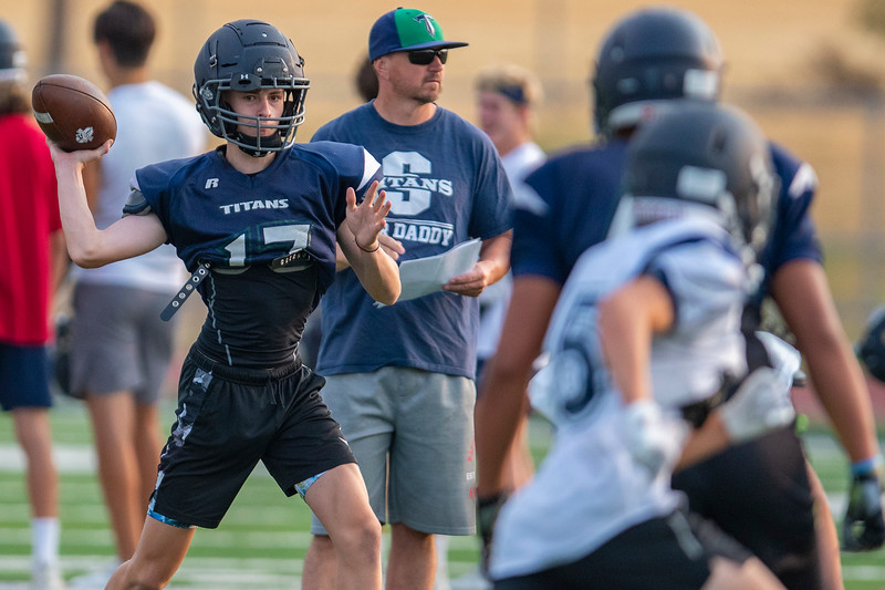 Syracuse High School practice  football drills early Friday in Syracuse, On August 6, 2021.