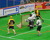 Syracuse Stingers Dewey Porter (23) scores on the Vermont Voyageurs in Professional Box Lacrosse at the War Memorial Arena in Syracuse, New York on Sunday, April 13, 2014. Vermont won 19-12.