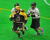Syracuse Stingers Cam Simpson (2) with the ball against the Vermont Voyageurs in Professional Box Lacrosse at the War Memorial Arena in Syracuse, New York on Sunday, April 13, 2014. Vermont won 19-12.