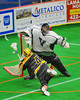 Syracuse Stingers Angus Laborgne (4) is stopped by Vermont Voyageurs Vince Talbot (1) in Professional Box Lacrosse at the War Memorial Arena in Syracuse, New York on Sunday, April 13, 2014. Vermont won 19-12.