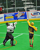 Syracuse Stingers Tyler Hill (14)  tries to intercept the outlet pass by Vermont Voyageurs goalie Vince Talbot (1) in Professional Box Lacrosse at the War Memorial Arena in Syracuse, New York on Sunday, April 13, 2014. Vermont won 19-12.