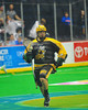 Syracuse Stingers Cam Simpson (2) brings the ball up against the Vermont Voyageurs in Professional Box Lacrosse at the War Memorial Arena in Syracuse, New York on Sunday, April 13, 2014. Vermont won 19-12.