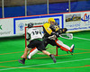 Syracuse Stingers goalie Matt Ural (30) kicks out a shot by Vermont Voyageurs Ryan Hotalig (19) in Professional Box Lacrosse at the War Memorial Arena in Syracuse, New York on Sunday, April 13, 2014. Vermont won 19-12.
