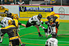 Vermont Voyageurs Ryan Hotalig (19) is stopped by Syracuse Stingers goalie Matt Ural (30) in Professional Box Lacrosse at the War Memorial Arena in Syracuse, New York on Sunday, April 13, 2014. Vermont won 19-12.