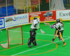 Vermont Voyageurs goalie Vince Talbot (1) makes a save against the Syracuse Stingers in Professional Box Lacrosse at the War Memorial Arena in Syracuse, New York on Sunday, April 13, 2014. Vermont won 19-12.