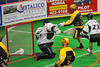Syracuse Stingers Christian Daly (22) beast Vermont Voyageurs goalie Vince Talbot (1) for a goal in Professional Box Lacrosse at the War Memorial Arena in Syracuse, New York on Sunday, April 13, 2014. Vermont won 19-12.