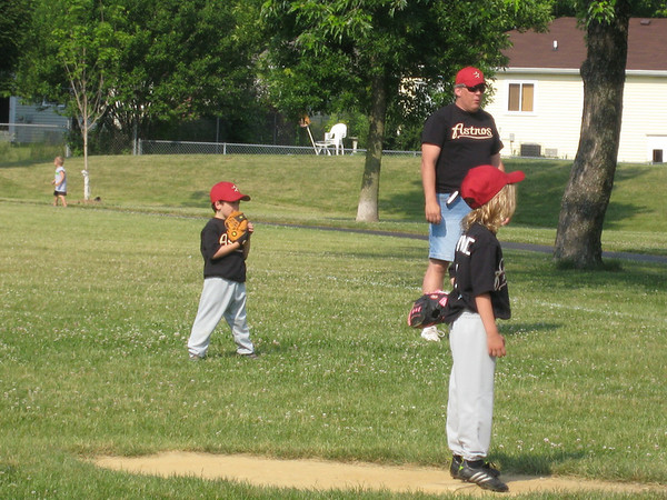 Nate at 1st base and Jaynie on the pitcher's mound.