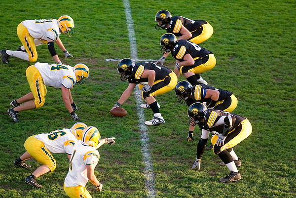 Record-Eagle/Jan-Michael Stump<br /> Traverse City Central's offensive line lines up against Midland Dow early in Friday's game.