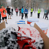 Record-Eagle/Keith King<br /> Runners prepare for the start of a 25k race as snow falls Saturday, April 13, 2013 during the Traverse City Trail Running Festival at Timber Ridge Resort.