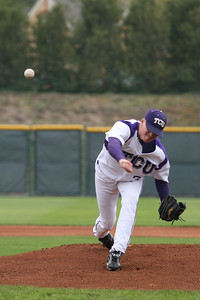 Horned Frog pitcher, Chris Johnson, throws heat early in the game against Air Force. Johnson earned his 3rd victory of the year after going 5.67 innings.