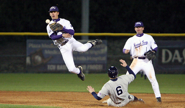 Ben Carruthers turns a double play against ORU.