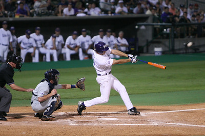 TCU Senior Keith Conlon ties the score at one apiece in the bottom of the second inning with his 9th home run of the season. The Frogs ended up losing to the Rice Owls by a score of 6 to 3 on 6-2-2007.