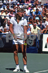 Bjorn Borg ready to serve to John McEnroe, US Open, NY, 1981