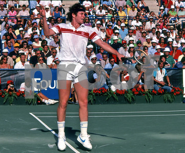 John McEnroe puts touch on a backhand return of a Bjorn Borg serve, US Open, 1981, Flushing Meadows, NY